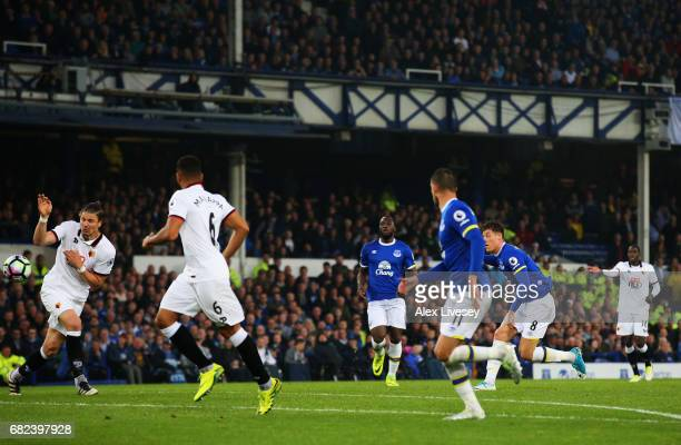 Ross Barkley of Everton scores his sides first goal during the Premier League match between Everton and Watford at Goodison Park on May 12 2017 in...