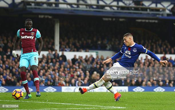 Ross Barkley of Everton scores his sides second goal during the Premier League match between Everton and West Ham United at Goodison Park on October...