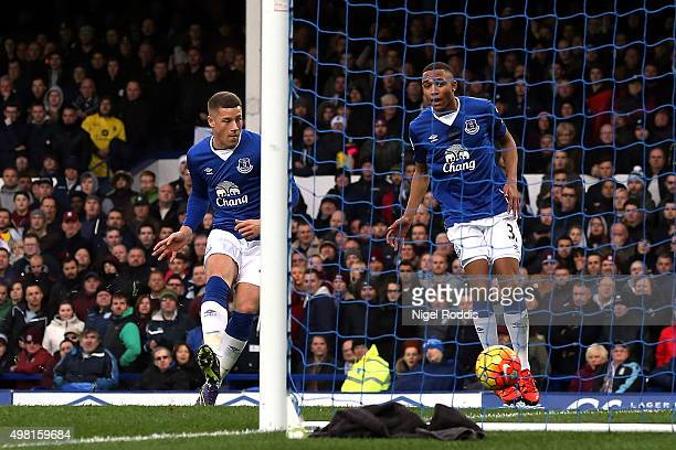 Ross Barkley of Everton scores his team's first goal during the Barclays Premier League match between Everton and Aston Villa at Goodison Park on...