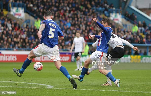 Ross Barkley of Everton scores his team's third goal during the Emirates FA Cup Fourth Round match between Carlisle United and Everton at Brunton...