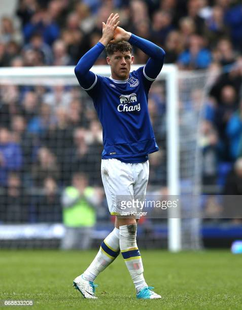 Ross Barkley of Everton shows appreciation to the fans after the Premier League match between Everton and Burnley at Goodison Park on April 15 2017...