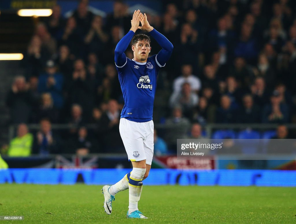 Ross Barkley of Everton shows appreciation to the fans as he is subbed off during the Premier League match between Everton and Watford at Goodison Park on May 12, 2017 in Liverpool, England.
