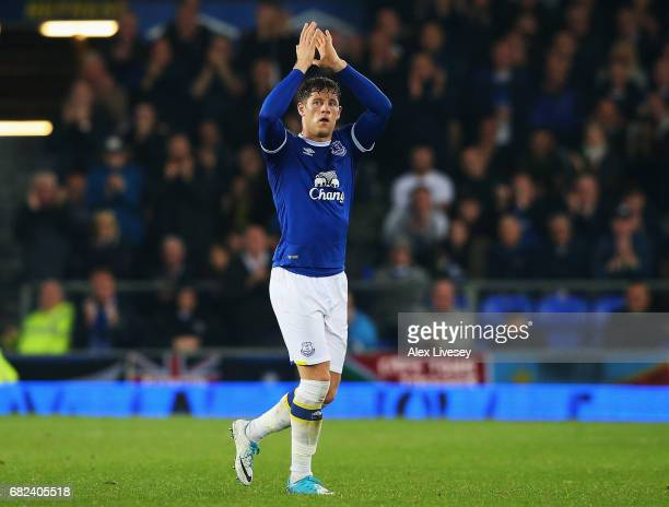 Ross Barkley of Everton shows appreciation to the fans as he is subbed off during the Premier League match between Everton and Watford at Goodison...