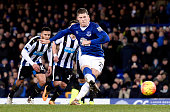Ross Barkley scores a penalty during the Barclays Premier League match between Everton and Newcastle United at Goodison Park on February 3 2016 in...