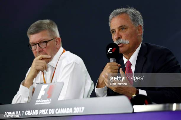 Ross Brawn Managing Director of the Formula One Group and Chase Carey CEO and Executive Chairman of the Formula One Group in a press conference...