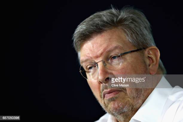 Ross Brawn Managing Director of the Formula One Group in a press conference during practice for the Australian Formula One Grand Prix at Albert Park...