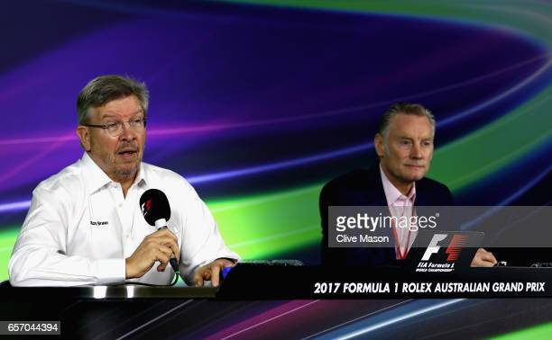 Ross Brawn Managing Director of the Formula One Group talks in a press conference with Sean Bratches Managing Director of the Formula One Group...