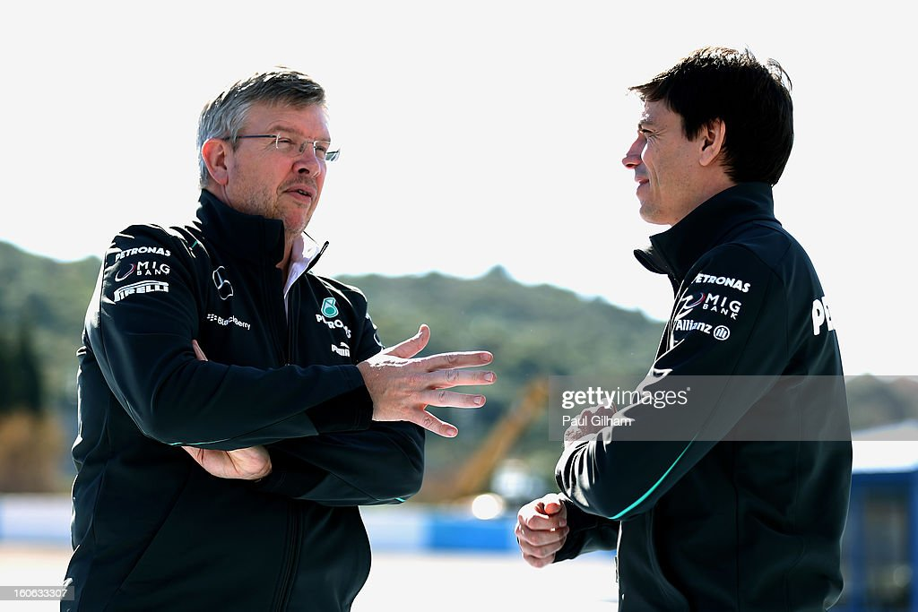 <a gi-track='captionPersonalityLinkClicked' href=/galleries/search?phrase=Ross+Brawn&family=editorial&specificpeople=220932 ng-click='$event.stopPropagation()'>Ross Brawn</a> the Mercedes Team Principal speaks with Toto Wolff the Executive Director of Mercedes during the Mercedes GP F1 W04 Launch at Circuito de Jerez on February 4, 2013 in Jerez de la Frontera, Spain.