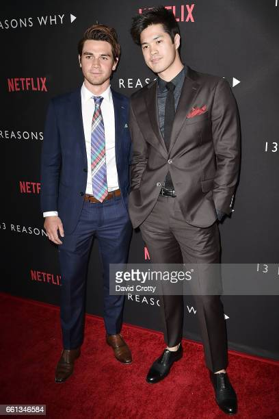 Ross Butler and Guest attend the Premiere Of Netflix's '13 Reasons Why' Arrivals at Paramount Pictures on March 30 2017 in Los Angeles California