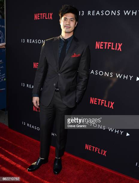 Ross Butler arrives at the Premiere Of Netflix's '13 Reasons Why' at Paramount Pictures on March 30 2017 in Los Angeles California