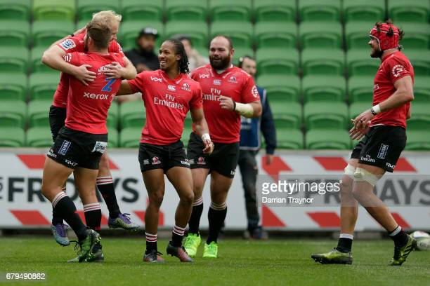 Ross Cronje of the Lions celebrates a try during the round 11 Super Rugby match between the Rebels and the Lions at AAMI Park on May 6 2017 in...