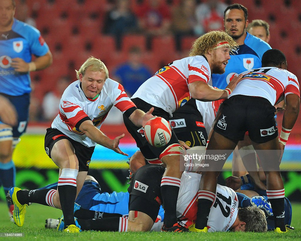 Ross Cronje of the Lions passes the ball during the Absa Currie Cup match between MTN Golden Lions and Vodacom Blue Bulls at Coca Cola Park on October 13, 2012 in Johannesburg, South Africa.