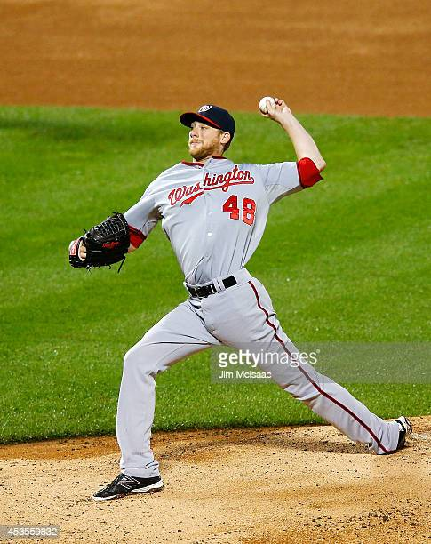 Ross Detwiler of the Washington Nationals in action against the New York Mets at Citi Field on August 12 2014 in the Flushing neighborhood of the...