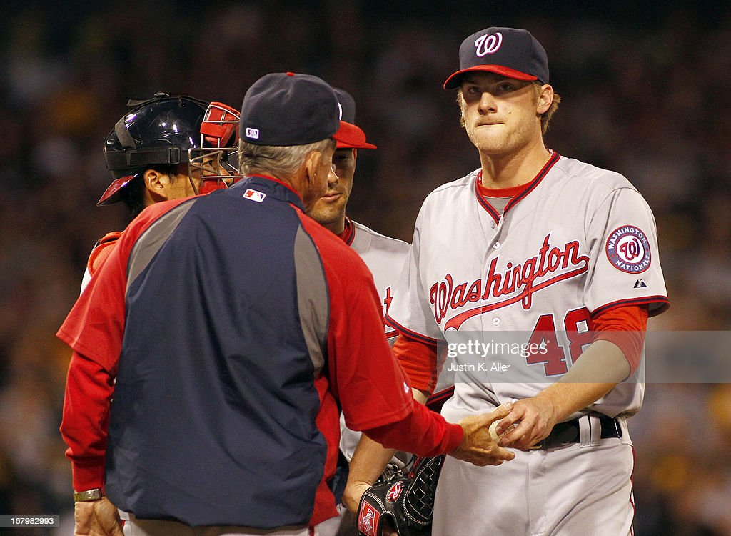 <a gi-track='captionPersonalityLinkClicked' href=/galleries/search?phrase=Ross+Detwiler&family=editorial&specificpeople=4329174 ng-click='$event.stopPropagation()'>Ross Detwiler</a> #48 of the Washington Nationals is pulled from the game in the sixth inning against the Pittsburgh Pirates during the game on May 3, 2013 at PNC Park in Pittsburgh, Pennsylvania.