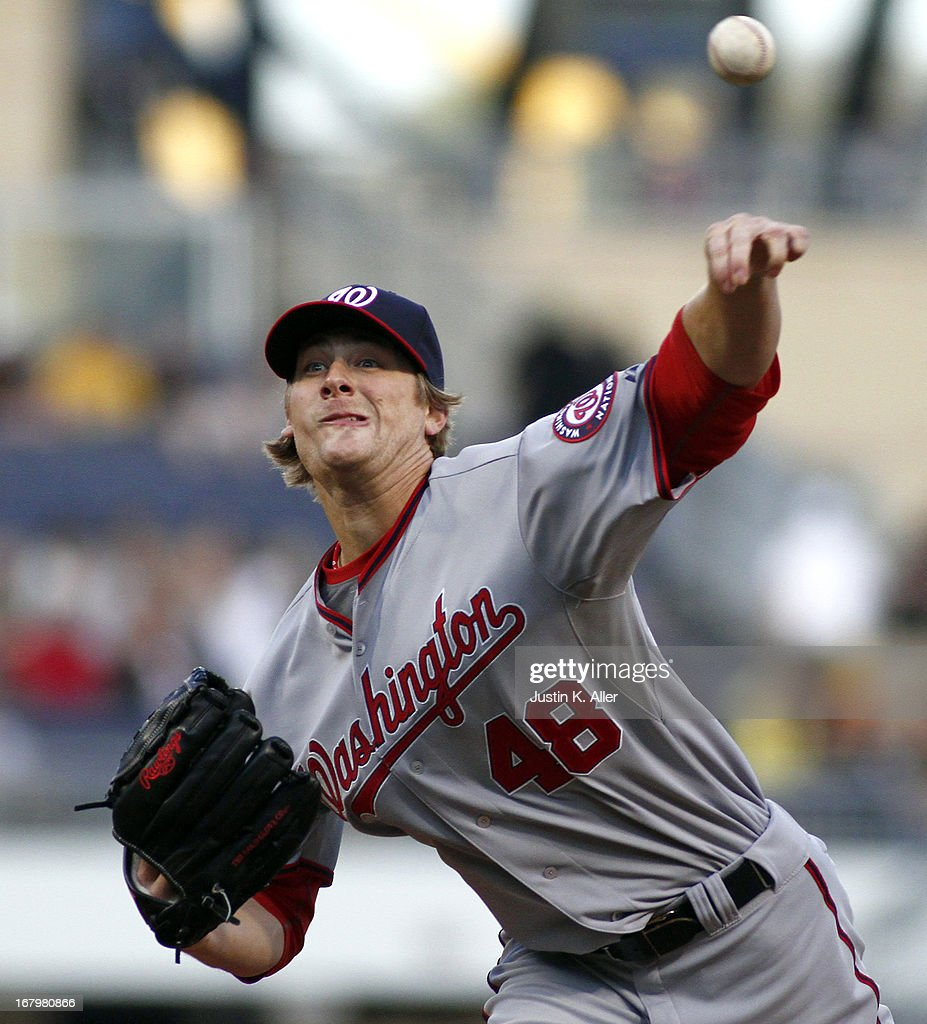 <a gi-track='captionPersonalityLinkClicked' href=/galleries/search?phrase=Ross+Detwiler&family=editorial&specificpeople=4329174 ng-click='$event.stopPropagation()'>Ross Detwiler</a> #48 of the Washington Nationals pitches in the second inning against the Pittsburgh Pirates during the game on May 3, 2013 at PNC Park in Pittsburgh, Pennsylvania.