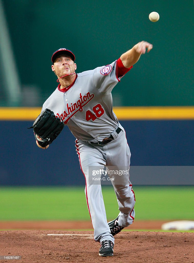 <a gi-track='captionPersonalityLinkClicked' href=/galleries/search?phrase=Ross+Detwiler&family=editorial&specificpeople=4329174 ng-click='$event.stopPropagation()'>Ross Detwiler</a> #48 of the Washington Nationals pitches to the Atlanta Braves at Turner Field on May 25, 2012 in Atlanta, Georgia.