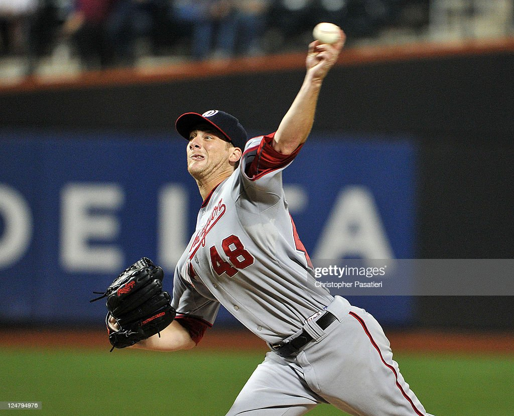 Ross Detwiler #48 of the Washington Nationals throws a pitch during the game against the New York Mets at Citi Field on September 12, 2011 in the Flushing neighborhood of the Queens borough of New York City.