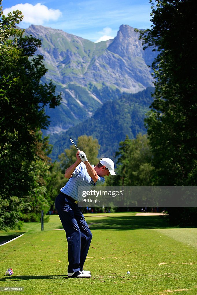 Ross Drummond of Scotland in action during the final round of the Bad Ragaz PGA Seniors Open played at Golf Club Bad Ragaz on July 6, 2014 in Bad Ragaz, Switzerland.