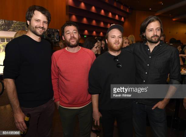 Ross Duffer creator writer and executive producer composers Kyle Dixon Michael Stein and Matt Duffer creator writer and executive producer arrive at...