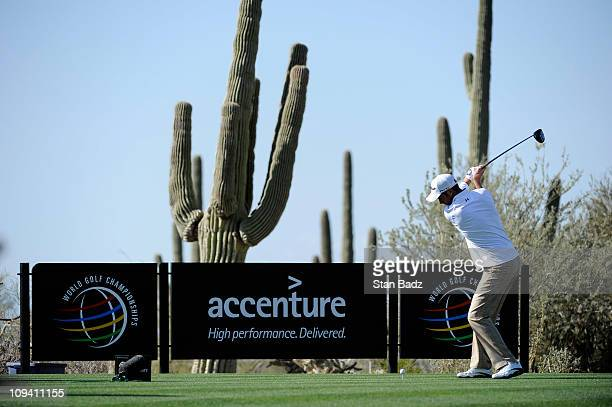 Ross Fisher of England hits from the fourth tee box during the second round of the World Golf ChampionshipsAccenture Match Play Championship at The...