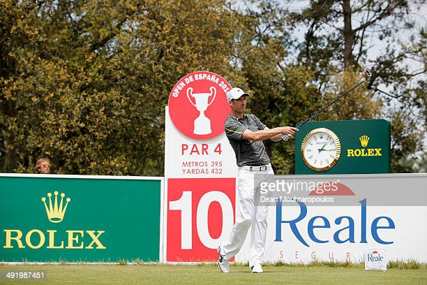 Ross Fisher of England hits his tee shot on the 10th hole during the final round of the Open de Espana held at PGA Catalunya Resort on May 18 2014 in...