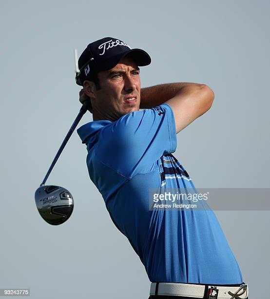 Ross Fisher of England hits his teeshot on the second hole during the second round of the Dubai World Championship on the Earth Course Jumeirah Golf...