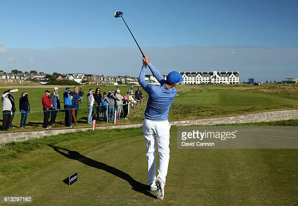 Ross Fisher of England plays a drive off the 18th tee during the third round of the Alfred Dunhill Links Championship at Carnoustie Golf Links on...