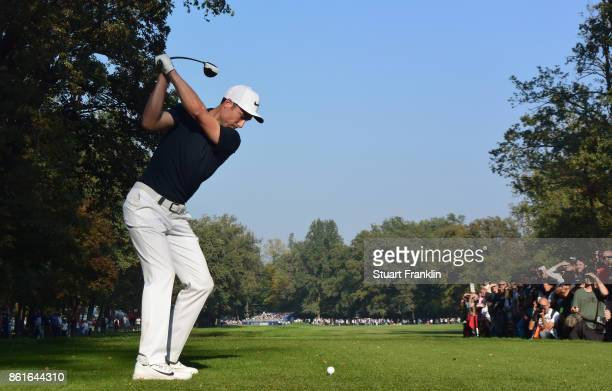 Ross Fisher of England plays a shot on the 18th hole during the final round of The Italian Open at Golf Club Milano Parco Reale di Monza on October...