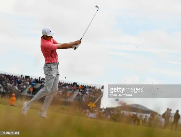Ross Fisher of England plays a shot on the tenth hole during the final round of the 146th Open Championship at Royal Birkdale on July 23 2017 in...