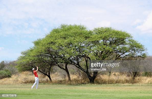 Ross Fisher of England plays his third shot into the 15th green during the third round of the Nedbank Golf Challenge at the Gary Player CC on...