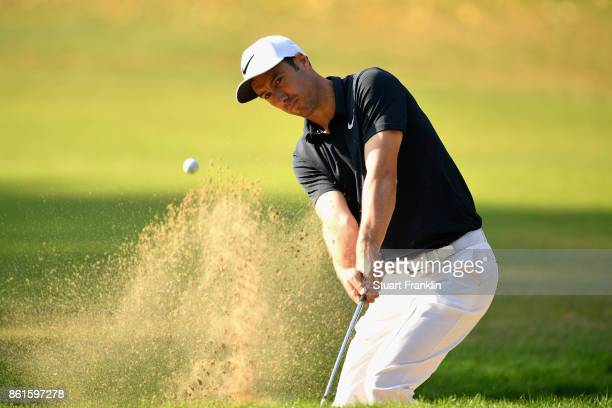 Ross Fisher of England plays out of the bunker during the final round of the 2017 Italian Open at Golf Club Milano Parco Reale di Monza on October 15...