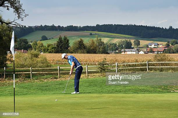 Ross Fisher of England putts during the second round of the Porsche European Open at Golf Resort Bad Griesbach on September 25 2015 in Passau Germany