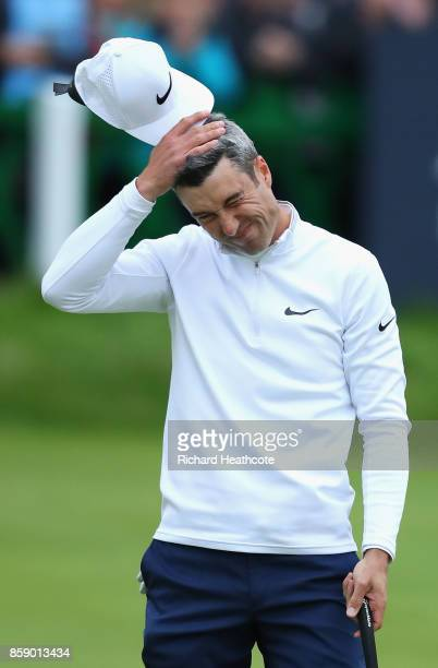 Ross Fisher of England reacts after a missed putt on the 18th during the final round of the 2017 Alfred Dunhill Championship at The Old Course on...