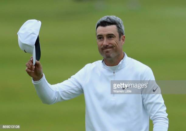 Ross Fisher of England reacts after his second shot on the 18th during the final round of the 2017 Alfred Dunhill Championship at The Old Course on...