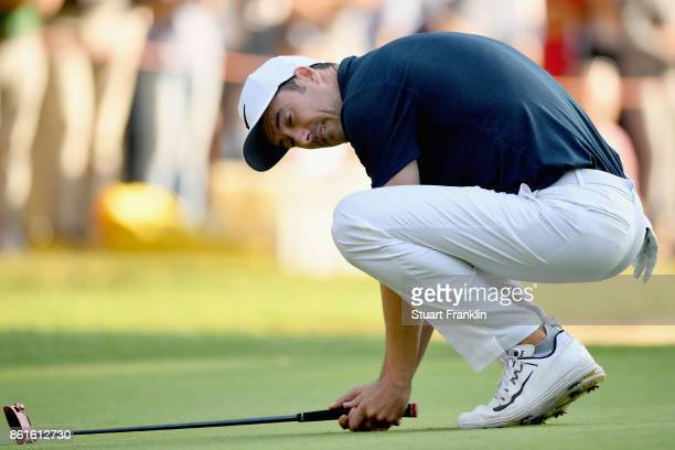 Ross Fisher of England reacts on the 18th during the final round of the 2017 Italian Open at Golf Club Milano Parco Reale di Monza on October 15 2017...