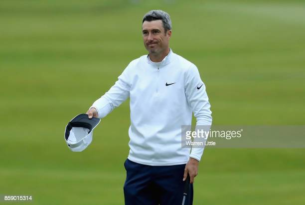 Ross Fisher of England reacts to a missed putt on the 18th during the final round of the 2017 Alfred Dunhill Championship at The Old Course on...