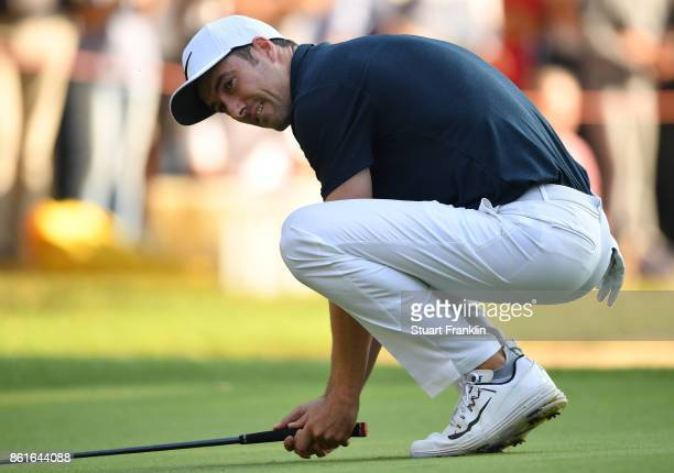 Ross Fisher of England reacts to a putt during the final round of The Italian Open at Golf Club Milano Parco Reale di Monza on October 15 2017 in...