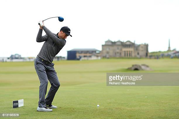 Ross Fisher of England tee's off at the 18th during the second round of the Alfred Dunhill Links Championship at The Old Course on October 7 2016 in...
