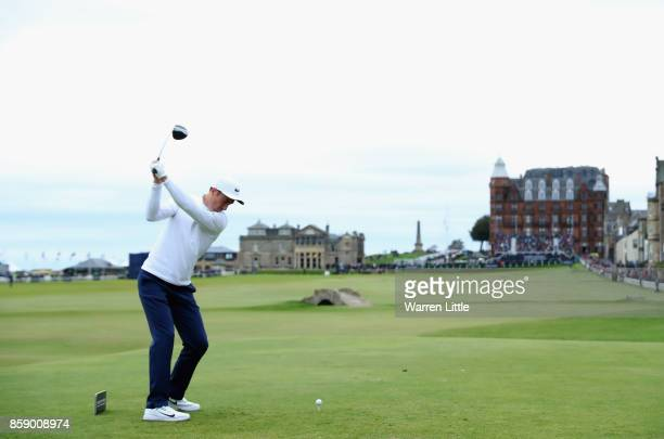 Ross Fisher of England tees off on the 18th during the final round of the 2017 Alfred Dunhill Championship at The Old Course on October 8 2017 in St...