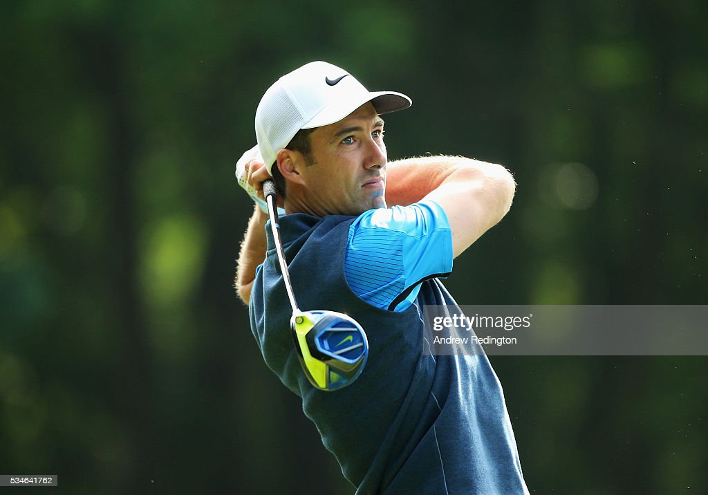 <a gi-track='captionPersonalityLinkClicked' href=/galleries/search?phrase=Ross+Fisher&family=editorial&specificpeople=541078 ng-click='$event.stopPropagation()'>Ross Fisher</a> of England tees off on the 3rd hole during day two of the BMW PGA Championship at Wentworth on May 27, 2016 in Virginia Water, England.