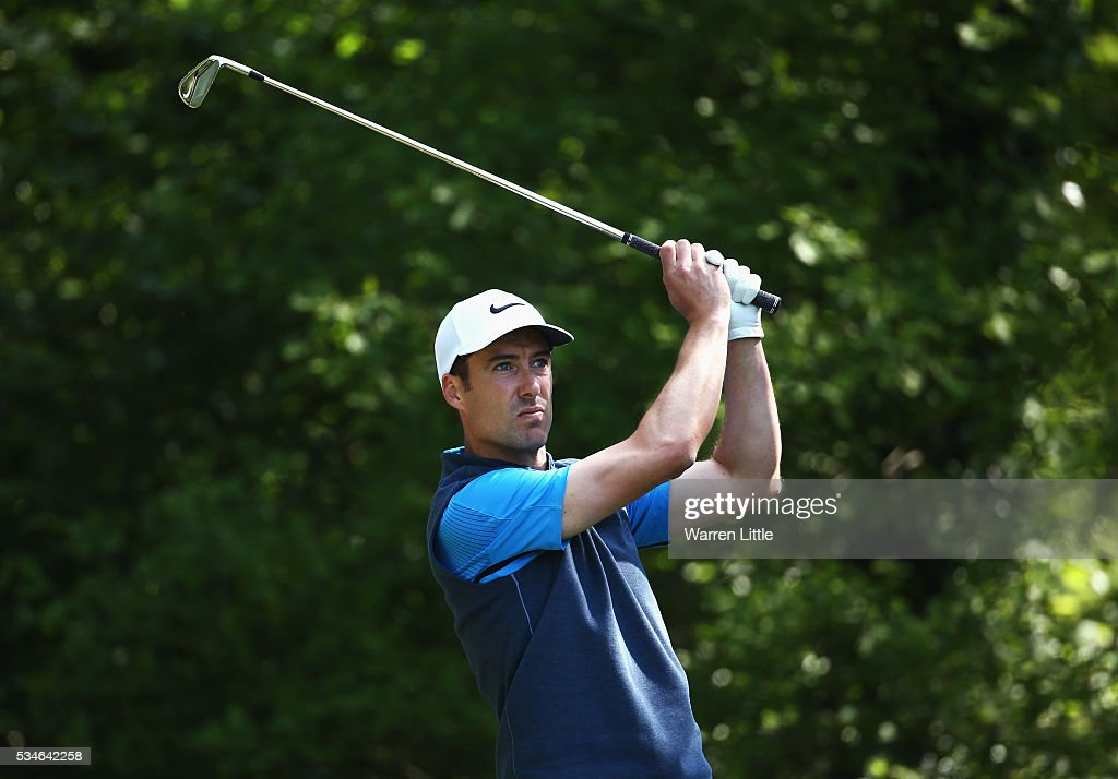 <a gi-track='captionPersonalityLinkClicked' href=/galleries/search?phrase=Ross+Fisher&family=editorial&specificpeople=541078 ng-click='$event.stopPropagation()'>Ross Fisher</a> of England tees off on the 5th hole during day two of the BMW PGA Championship at Wentworth on May 27, 2016 in Virginia Water, England.