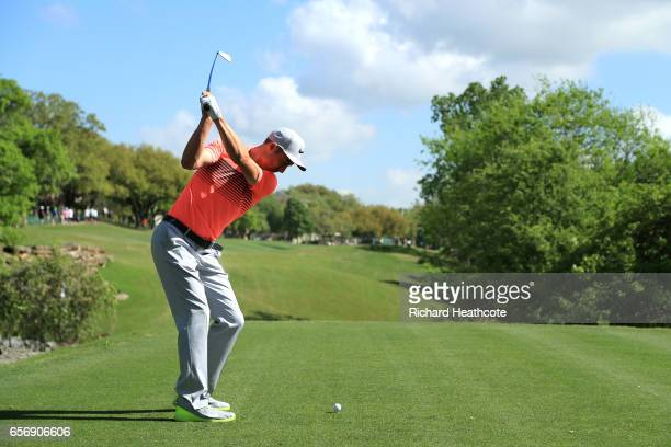 Ross Fisher of England tees off on the 5th hole of his match during round two of the World Golf ChampionshipsDell Technologies Match Play at the...