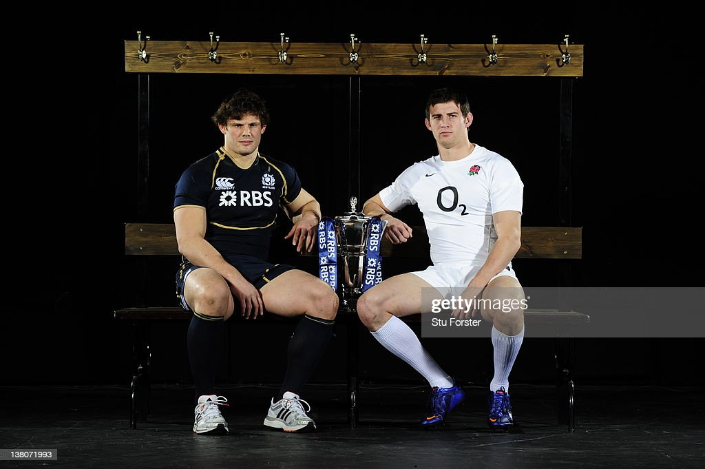 Ross Ford of Scotland and Tom Wood of England pose with the RBS Six Nations trophy during the RBS Six Nations Launch at The Hurlingham Club on January 25, 2012 in London, England.
