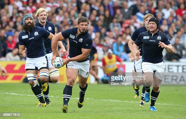 Ross Ford of Scotland breaks with the ball during the 2015 Rugby World Cup Pool B match between Scotland and Japan at Kingsholm Stadium on September...