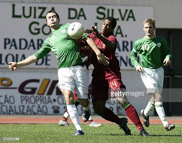 Ross Gaynor and Vitor Passos 'Pele' during an 11th Madeira International U20 Tournament match between the Republic of Ireland and Portugal in Madeira...
