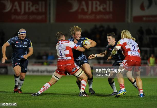 Ross Harrison of Sale Sharks in action during the Aviva Premiership match between Sale Sharks and Gloucester Rugby at AJ Bell Stadium on September 29...