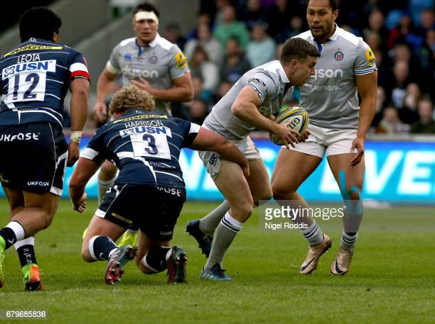 Ross Harrison of Sale Sharks tackles George Ford of Bath Rugby during the Aviva Premiership match between Sale Sharks and Bath Rugby at AJ Bell...