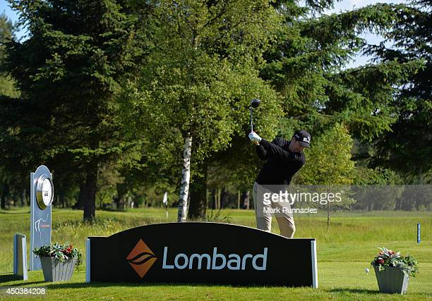 Ross Harrower of Boat of Garten Golf and Tennis Club on the 1st tee during the Lombard Trophy Scotland Regional Qualifier at Ladybank Golf Club on...