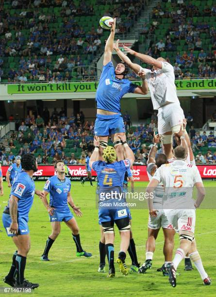 Ross HaylettPetty of Force in action during the round nine Super Rugby match between the Force and the Chiefs at nib Stadium on April 22 2017 in...