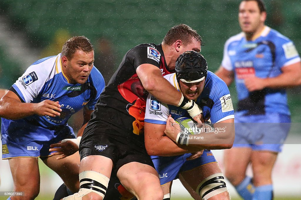 Ross Haylett-Petty of the Force gets tackled by Roelof Smit of the Bulls during the round 10 Super Rugby match between the Force and the Bulls at nib Stadium on April 29, 2016 in Perth, Australia.